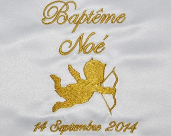 Gold embroidered christening baby custom Angel scarf