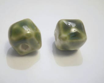 2 square 10 mm khaki green hand made porcelain beads