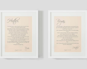 His and Hers wedding vow art print