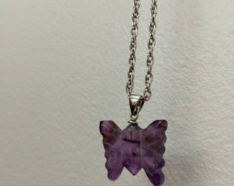 Hand Carved Amethyst Butterfly Pendant on a 15 inch / 38 cm Chain