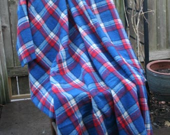 Vintage Wool Blanket / Red, Blue, and White Plaid