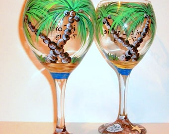 Palm Trees and Seashells Hand Painted Wine Glasses for Wedding Anniversary Gift Set of 2 - 20 oz. Beach, Shells, Star Fish, Blue, Teal