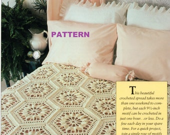 Crochet Bedspread PATTERN Afghan, Table Runner, Throw, Granny Squares Instant Download PDF Help Rescued Cats