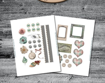 Daily Planner, Digital, Printable, Element Stickers: Looking Back