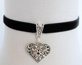 silver heart choker, black velvet choker, stretch ribbon