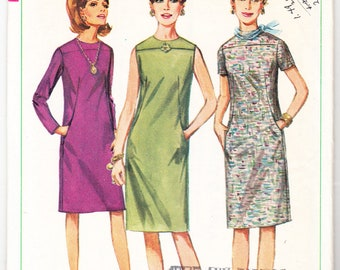 Vintage 1966 Simplicity 6724 Sewing Pattern Misses' One-Piece Dress Size 12 Bust 32