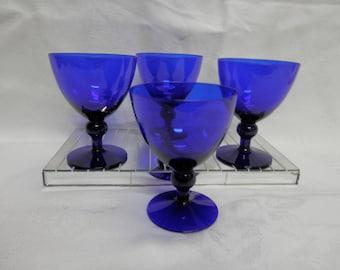 Mid Century Modern Barware Wine or Water Goblet in Cobalt Blue in Lead Crystal Glass