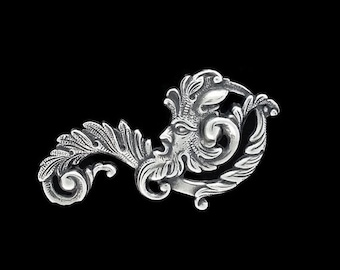 50off Green Man Fancy Leaf Scroll Filigree Silver Plated Brass Stamping Father Time 55mm x 30 mm- Right Side Made in the USA