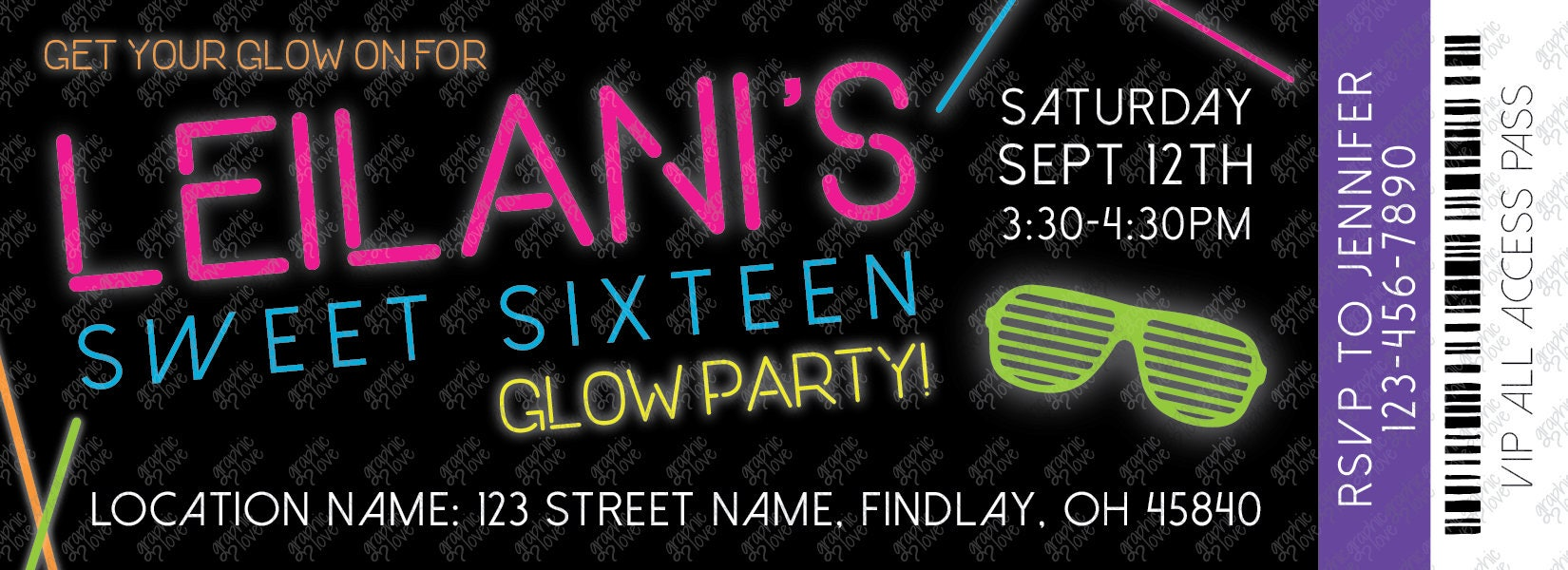 Sweet 16 Glow in the Dark/Neon Ticket Birthday Party Invitations 5.5 ...