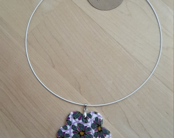 Neck tires with pendant polymer clay lilac