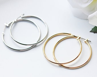 Simple Silver Or Gold Hoop Titanium Earrings Modern Minimalist Nickel Free