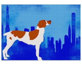 Brittany Spaniel Dog in Chicago city- Fine Art Print,dog art prints, orange color, pet, Brittany, spaniel dog