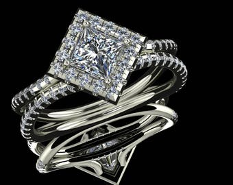 14K White Gold With  Diamond Center Stone Ring SH-RG1010