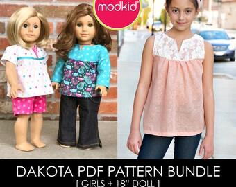"Dakota Girls and Mini-Dakota for 18"" Dolls PDF Pattern Bundle by MODKID - Instant Digital Download - Buy 2 and SAVE!"