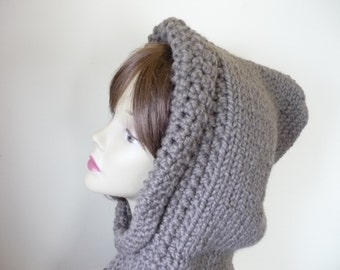 Gift for Her Hooded Cowl Teen/Adult  Chunky Knit Warm Wool Blend - Taupe - Ready to Ship - Direct Checkout