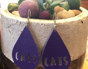 Faux leather Teardrop Earring with KSU Cats details