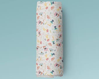 Organic Cotton Muslin Swaddle Blanket - Swedish Floral