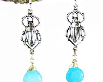 Egyptian Scarab & Turquoise Dangle Earrings, Turquoise and Silver Earrings, Gemstone Earrings, Boho Earrings