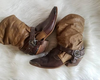 Vtg Maine Woods Boots, Leather Star Tipped Cimmaron Slouch, 8M