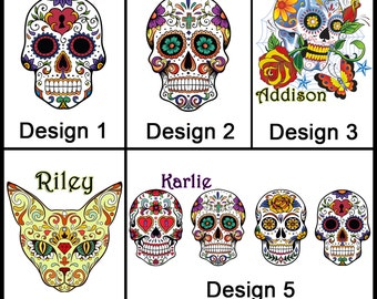 Personalised Sugar Skull Mug - Ceramic Coffee Mug - With any Name or Message - Gift Idea - Day of the Dead