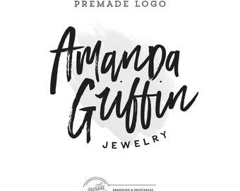 Calligraphic Logo,  Premade Logo Design, Brush Stroke Logo with Premade Watermark, Premade Watercolor Logo,  Handwritten Signature
