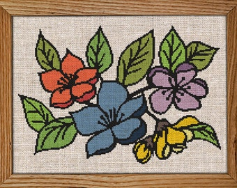 Get 30% off when you buy two or more patterns / Modern Cross Stitch Pattern / PDF Chart Instant Download / Blooming FLOWERS / Spring