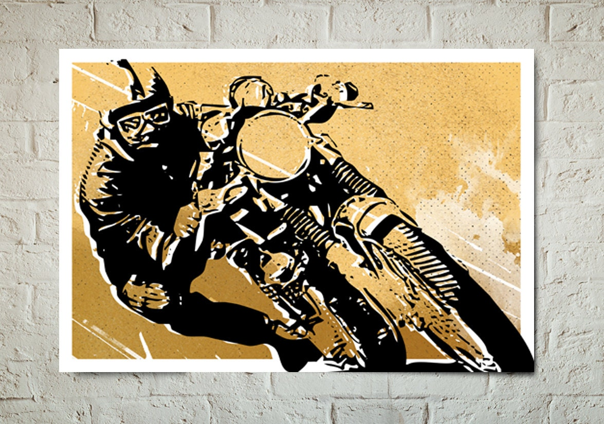 Motorcycle Art Print Cafe Racer art Poster size Motorcycle