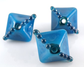 Lampwork Beads - XL Chunky Crystals Handmade Glass Beads 18mm - Deep Blues - Atlantis and Leaky Pen - SRA (Set of 3 Beads)