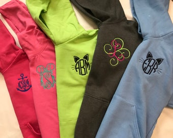 Youth Monogrammed Hooded Sweatshirt, Girls Monogrammed Hoodie, Initial Monogrammed Sweatshirt, PICK FROM 33 colors