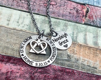 Adoption Jewelry, Born, Home, Forever, Adoptive Foster Parent, Adoption necklace, Adoption Gift, Adoption day, Personalized Mommy Necklace