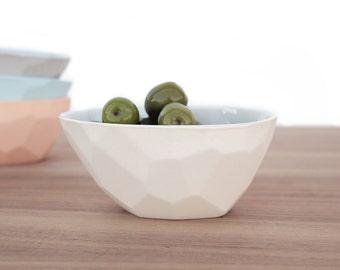 slip cast porcelain faceted olive bowl
