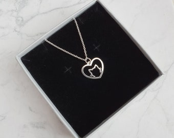 Cat Necklace | Sterling Silver Heart Cat Necklace | Animal Lover Necklace | Silver Cat Necklace | Animal Necklace | Cat Lover Gift |