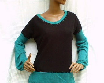Turquoise blue & Licorice - Two-colored pullover with puff sleeves, black and blue pullover in stitch, assembly of pullover, eco-trendy