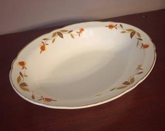 Vintage Hall's Superior Jewel Tea Co. Autumn Leaf Ruffled Oval Vegetable Bowl - Mary Dunbar