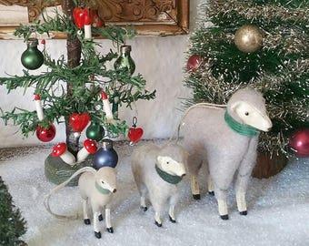 3 sweet, vintage wool sheep, sheep, lamb, Easter lamb