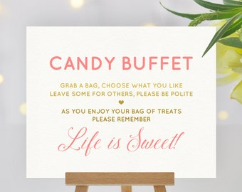 Coral pink and gold candy buffet sign - Grab a Bag - Gold Party decor, Printable candy bar sign, Dessert table, Baby Shower, Wedding decor