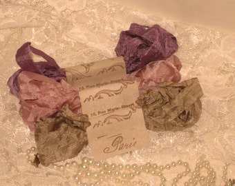French Inspired Seam Binding Ribbon Distressed and Scrunched  - French Rose - French Marche (SB012)