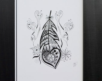 Hummingbird Feather - 10 pack - Blank Greeting Cards, Hummingbird Cards, Art Cards, Bird Art Cards, Zentangle Cards
