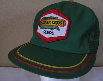 Edward J Funk Super Crost Seeds Vintage Embroidered Trucker's Cap With Flat Bill, Mesh, Snap Back