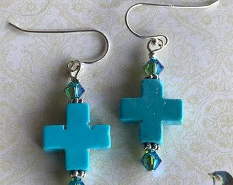 Turquoise cross earrings, turquoise earrings, cross earrings, Christian earrings, religious earrings, faith earrings, inspirational earrings