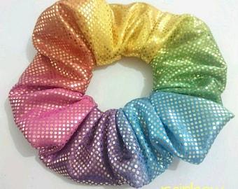 Rainbow sequin Satin Hair scrunchie vintage party print  handmade quality elastic ponytail holder volume voluminous wide twinkle fabric