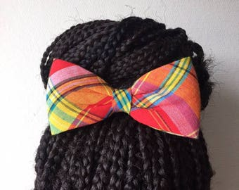 Hair clip bow tie red madras fabric