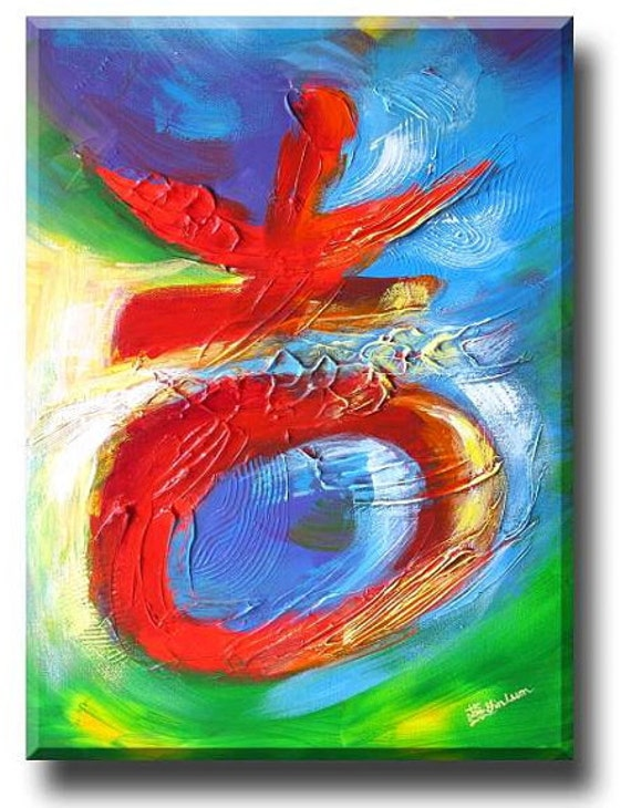 """18""""x24"""" Prosperity Red Lucky Chinese symbol character Earth elements modern Chinese painting original"""