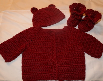 Crochet Baby Sweater, Hat And Booties Set Size 0-3 Months