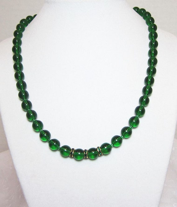 Emerald Bead Beads: Emerald Green Necklace Glass Beaded With Rhinestone Rondelles