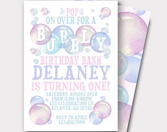 Bubble Birthday Invitation | Bubbly Birthday Bash | Bubbles | First Birthday | Girls Birthday Invitation
