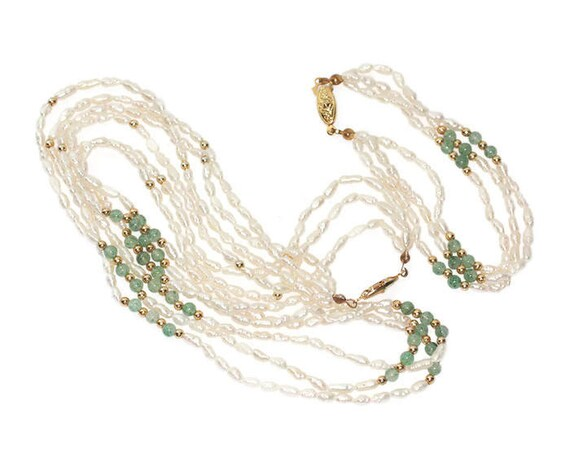 Rice Pearl and Green Aventurine Set Necklace Bracelet Gold Plated Beads Demi Parure