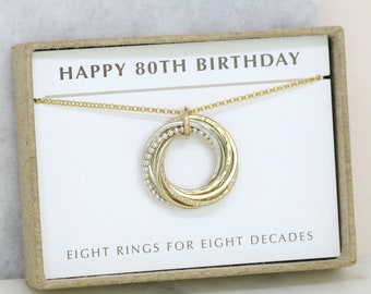 80th birthday gift, birthday necklace for 80th, 80th necklace for grandma, mom - LILIA