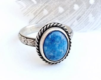 Denim Lapis Ring, Blue Stone, Sterling Silver Gemstone Ring, Southwestern Jewelry for Women