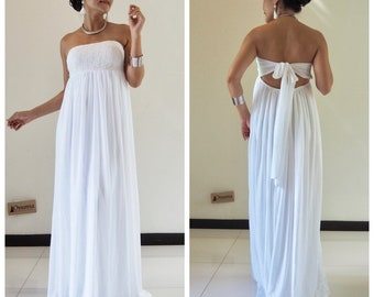Wedding dress, white dress, Lace Dress,white party dress,Maternity Dress , chiffon dress, long Dress, maxi dress All size